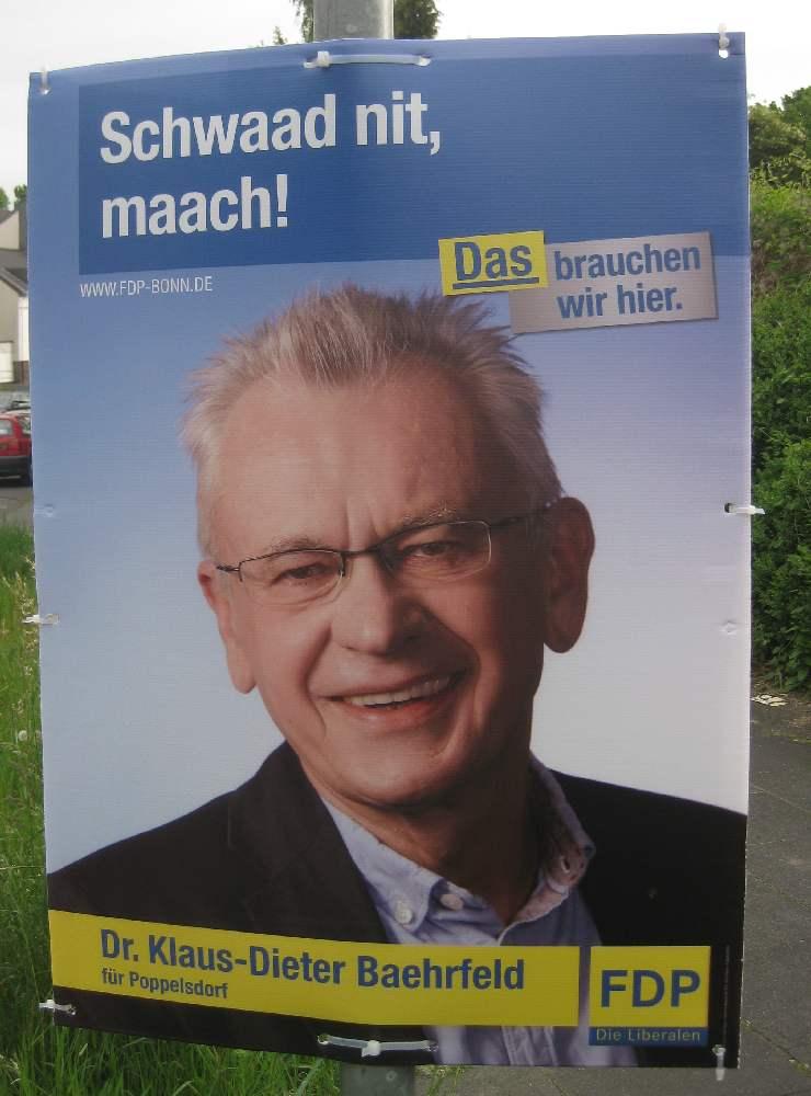 Plakat der FDB in Bonn, auf dem steht: Schwaad nit, maach!