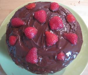 Sicht von oben auf den Erdbeer-Schoko-Traum, das heßt, auf die mit Schokolade und Erdbeeren verzierte Torte, deren Füllung aus Erdbeeren und einer Quark-Joghurt-Creme besteht