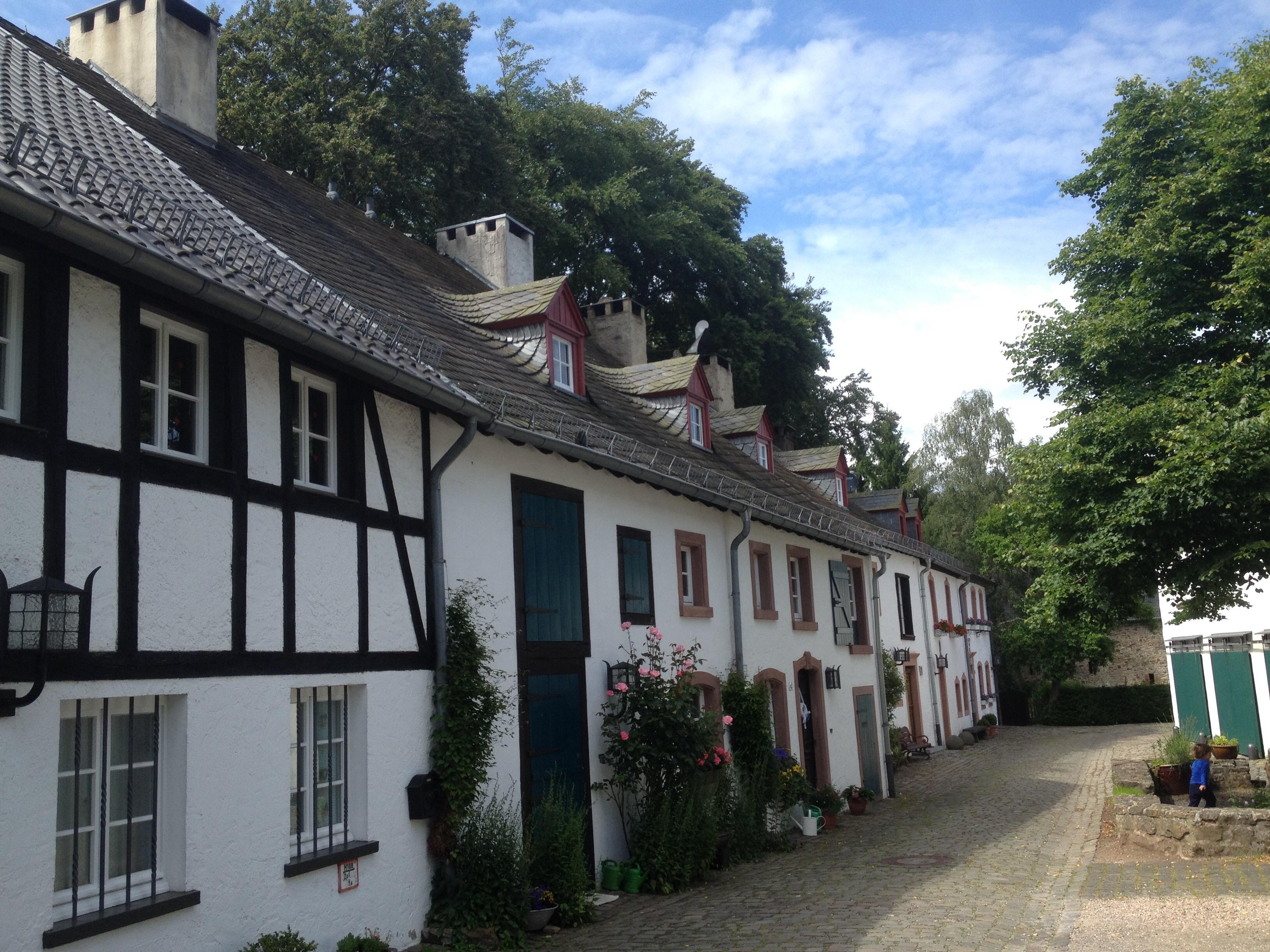 Eine Reihe von alten Fachwerkhäusern in Kronenburg mit kleinen Dachgauben und Rosenbüschen davor