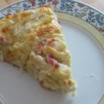 Ein Stück des Flammkuchen-Schecken-Kuchens