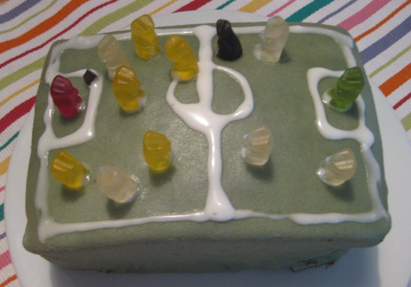 Mein Fußballkuchen, eine rechteckige Torte, mit grünem Marzipanumhüllt, mit Zuckergusstreifen für die Linien und Gummibärchen als Fußballern.