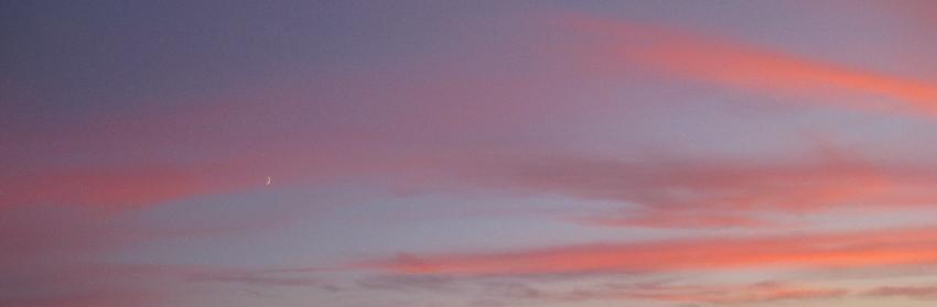 Vor sonnenuntergangsrosa-orangenen Wolken geht die weiße Mondsichel auf