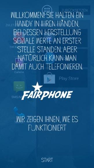Begrüßungsscreen des Fairphone