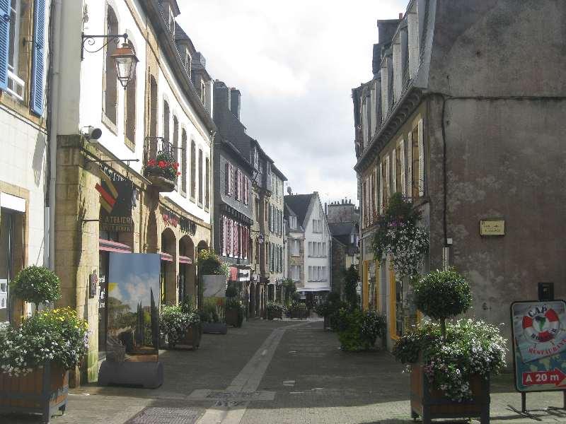 Blick in eine Straße mit vielen alten Stein- und Fachwerkhäusern, am Szraßenrand der gepflasterten Fußgängerzone stehen Blumenkübel