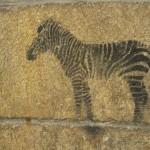 Zeichnung eines Zebras auf einer Steinwand in Landerneau