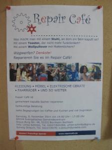 Poster mit der Ankündigung für das Repair Café in Sechtem