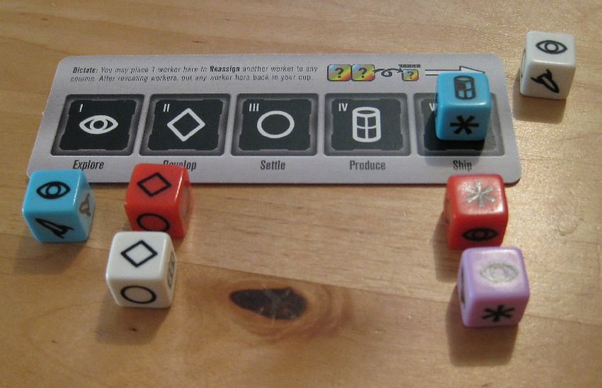 Auswahl der Phasen eines Spielers bei Roll for the galaxy