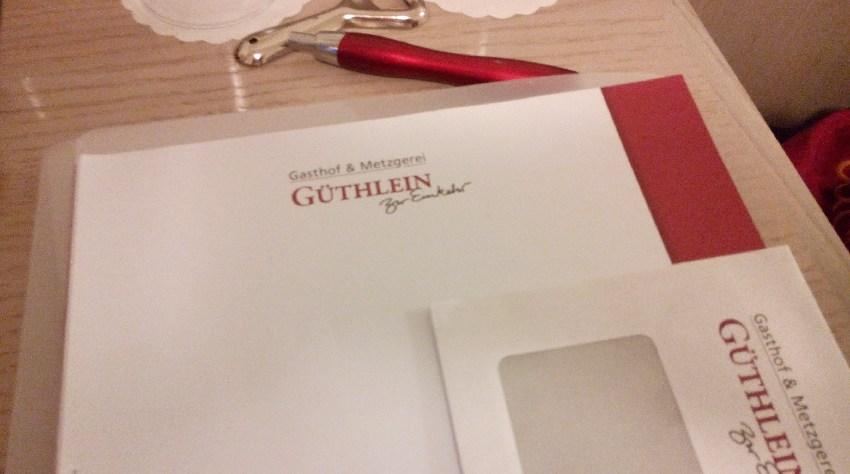 Briefpapier und Briefumschläge des Gasthofs