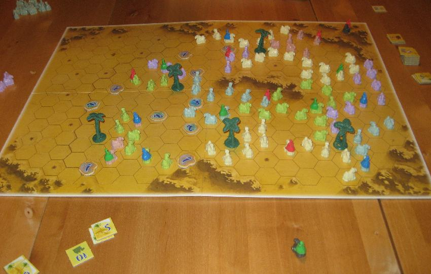 """Spielfeld von """"Durch die Wüste"""" mit vielen bunten Kamelfiguren platziert"""