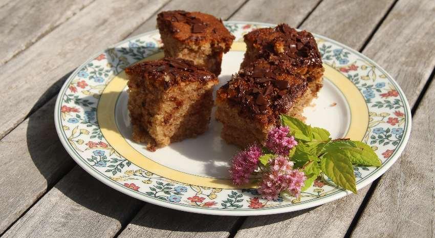 Zimtwürfel auf einem Teller mit lila Blümchen auf unserem Gartentisch