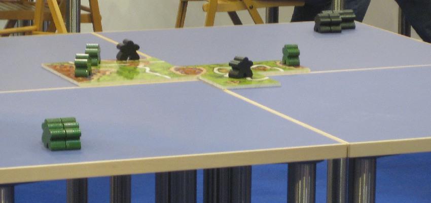 Übergroße Plättchen und Meeple beim Finale der Deutschen Carcassonne-Meisterschaft bei der Spiel '15 in Essen