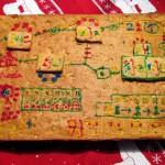Lebkuchen-Spielfeld mit Zuckerschrift