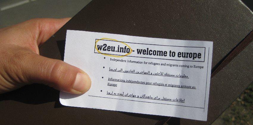 Hinweiszettel auf w2eu.info - eine Hilfeseite für Flüchtlinge