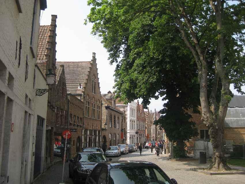 Platz mit historischen Häusern und Bäumen in Brügge