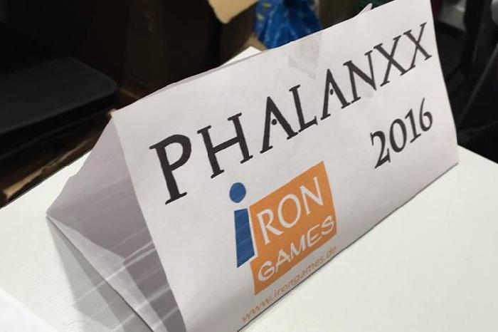 Hinweis auf Phalanxx von Iron Games beim Herner Spielewahnsinn 2016