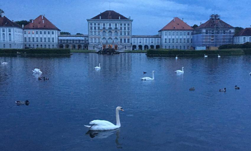 Schloss Nymphenburg mit weißen Schwänen in der Abenddämmerung