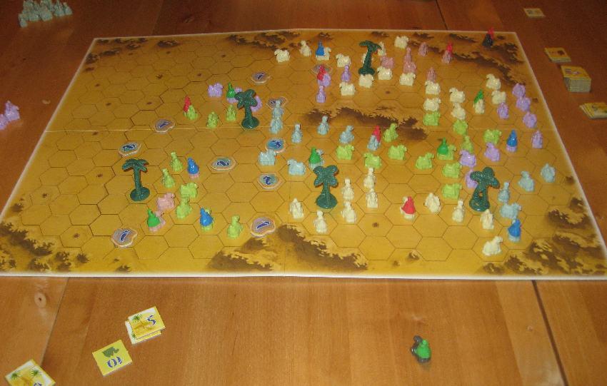 """Spielplan von """"Durch die Wüste"""" von Reiner Knizia bei einem Spiel mit drei Spielern"""