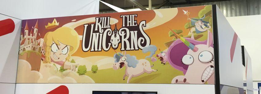 """Werbefläche für """"Kill the Unicorns"""" bei der Spiel 16 in Essen"""