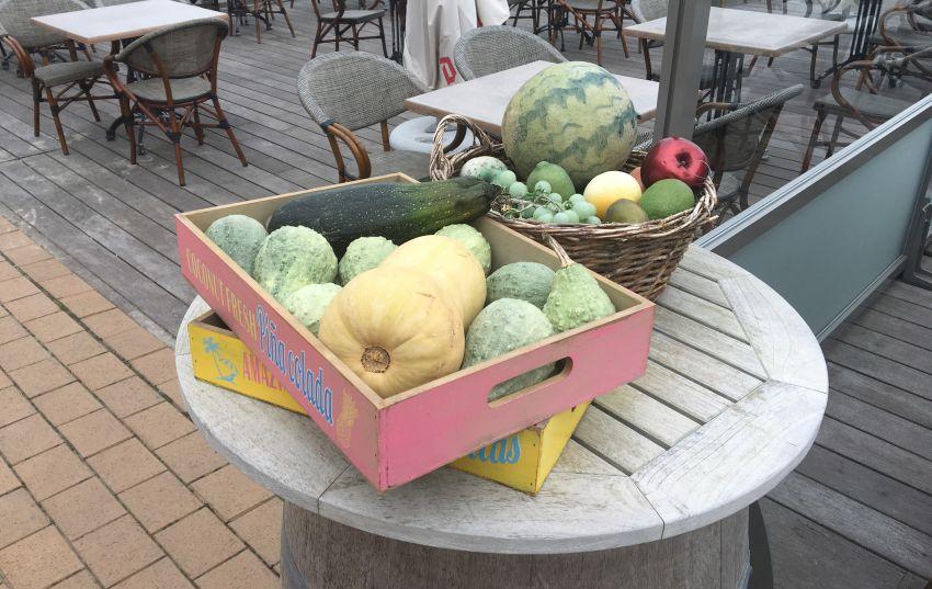 Deko mit Kürbis und Zucchini